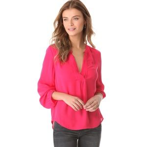 Joie Ameline Pintucked Blouse Bright Rose XS